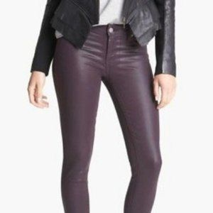 Paige Jeans Coated Black Cherry Skinny Jeans | 28